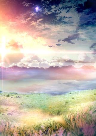 Фото Красивый нежный закат, на переднем плане поле с нежными цветами