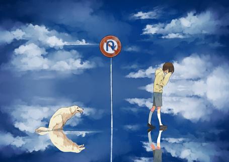 Фото Плачущий мальчик идет по тонкому слою воды около дорожного знака, позади сидит собака, художник ハナ