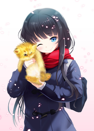 Фото Девочка держит на руках рыжего котенка, art by at-yui