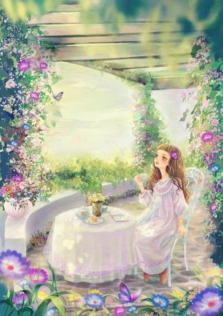 Фото Маленькая девочка пьет чай сидя за столиком в окружении цветов, художник 喜乐园