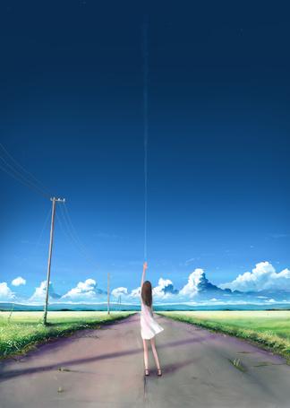 Фото Девушка тянется к небу, стоя на дороге, art by kia