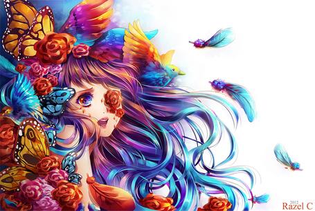 Фото Девушка с сине-фиолетовыми волосами в окружении цветов, птиц и бабочек, работа от Raayzel