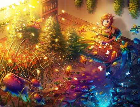 Фото Девушка сидит за письменным столом в комнате, перед ней открывает подводный мир, лес с его обитателями, работа от Raayzel