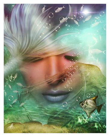 Фото Портрет грустной девушки под водой, работа Sadness / печаль, арт by coby