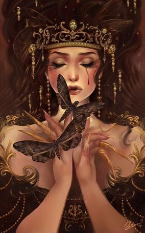 Фото Девушка с украшениями на голове и бабочками перед ней, by Schin Loong