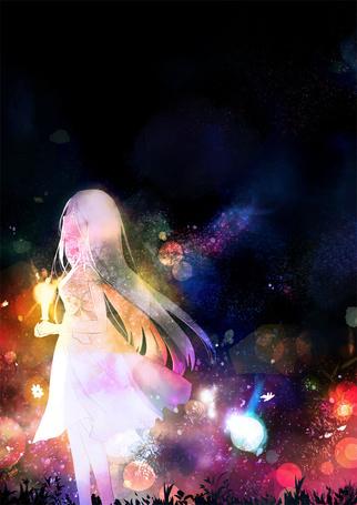 Фото Девушка в белом платье со светящимся предметом в руке, работа Vigil / бодрствование, by futarinokizuna