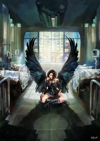 Фото Ангел с черными крыльями сидит в палате с умирающими людьми