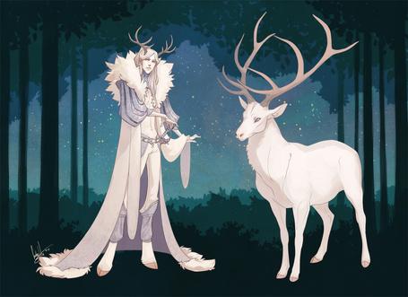 Фото Lasha (оригинальный персонаж) и олень в ночном лесу, art by hellcorpceo