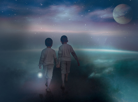 Фото Два брата, взявшись за руки, у одного из них в руке горящий фонарь, идущие по тропинке в облаках на фоне звездного ночного неба и взошедшей планеты, автор Nataliorion