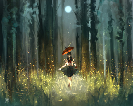 Фото Девушка в школьной форме с зонтом стоит в траве в окружение светлячков в ночном лесу, art by kurosaka hal