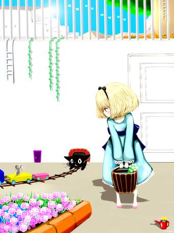 Фото Девочка смотрит на черного котенка, который охотится за мышью, сидящей на вагоне игрушечного поезда, art by mari (milkuro-cat)