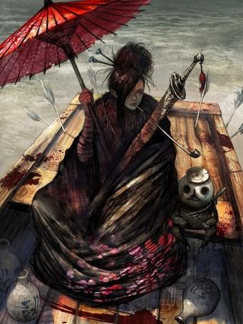 Фото Гейша с зонтиком в руках, мечом и трубкой сидит в лодке с соке повсюду капли крови и стрелы