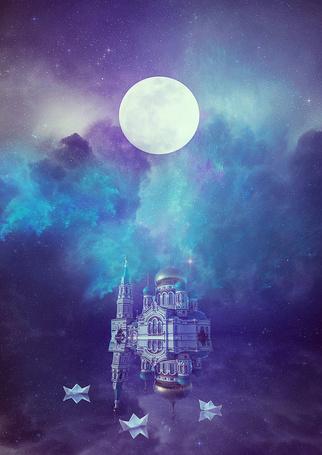 Фото Дворец, стоит на воде, в которой отражается звездное небо и плавают бумажные кораблики, работа UntamedUnwanted