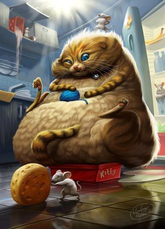 Фото Толстая кошка, держит в лапах клубок, смотря и облизываясь на мышь, которая катит из холодильника сыр