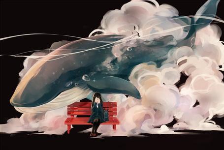 Фото Девушка плачет, сидя на лавочке, на фоне облаков, в которых плавает кит, art by zakka