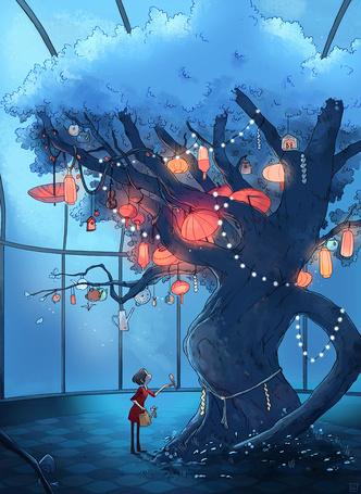 Фото Девушка стоит возле большого дерева, на котором висят различные предметы