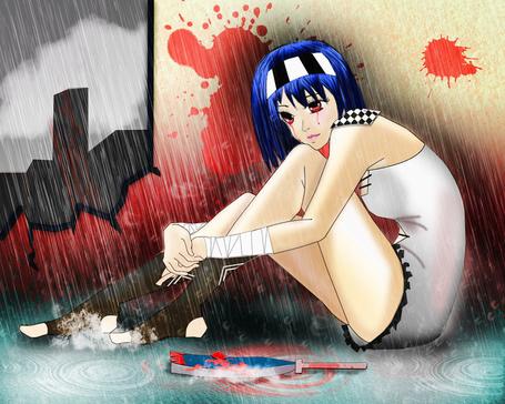 Фото Девушка с синими волосами сидит под дождем, by Bushaqua (© zmeiy), добавлено: 31.03.2014 19:24