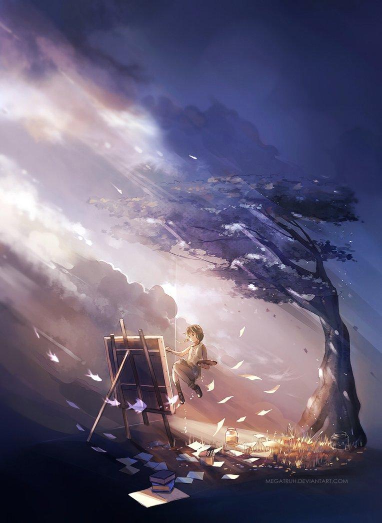Фото Девушка рисует картину, паря в воздухе, art by megatruh