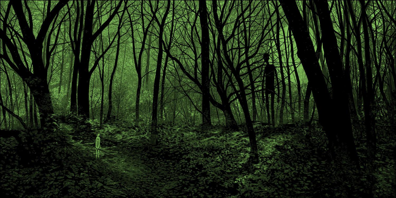 Фото За девочкой в лесу наблюдает высокий человек, иллюстратор Daniel Danger
