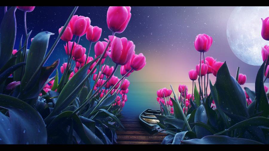 Фото Розовые тюльпаны перед водой, где покоится лодка, by IvanAndreevich