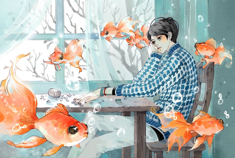 Парень рисует рыб