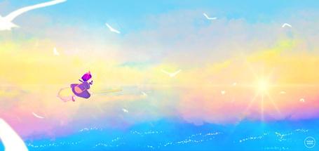 Фото Ведьма Кики со своим котом Дзи-дзи на метле летят над морем в окружении чаек, из аниме Ведьмина служба доставки / Служба доставки Кики / Kiki's Delivery Service, автор sugarmints