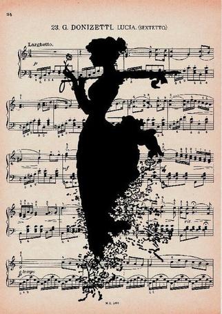 Фото Нарисованная чернилами девушка на нотах держит в руках цветок и рассыпается