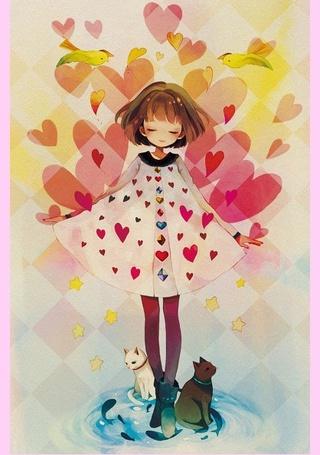 Фото Девочка в окружении сердечек и птиц, у ног которой сидят коты