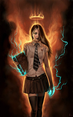 Фото Девушка держит в руках книгу, над ее головой огненный нимб, а за спиной огненные крылья, от которых исходит дым, из рук выходят молнии, художница Aly Fell / Али Фелл