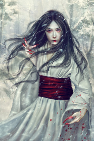 Фото Темноволосая девушка-демон с когтями, измазанными кровью, art by PerlaMarina