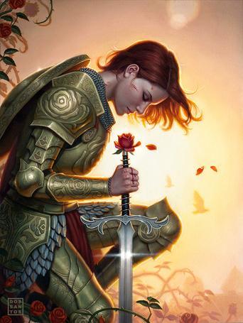 Фото Женщина-воин склонилась над мечом, на фоне солнца, в окружении роз, автор Dos San Tos