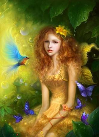 Фото Девушка в окружении зелени, бабочек и птиц, art by Ruoxing Zhang