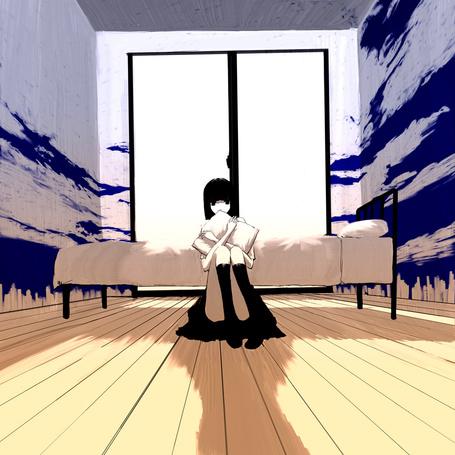 Фото Девушка сидит, обняв подушку, на полу комнаты, art by emukami
