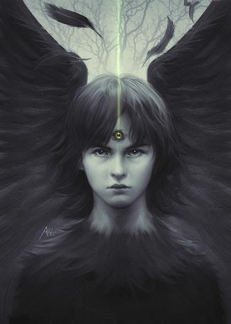 Фото Парень-ангел с черными крыльями с третьим глазом во лбу, art by artgerm (stanley lau)