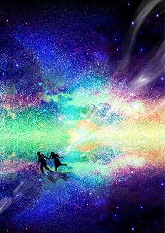 Фото Парень бежит с девушкой держась за руку, на фоне космоса по воде, художник Erisiar