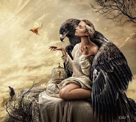 Фото Девушку обнимает орел, и рядом летает маленькая птичка