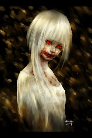 Фото Девушка с лицом забрызганным кровью, art by NanFe