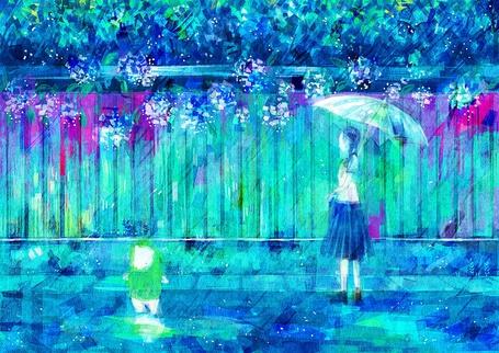 Фото Девочка и плюшевый мишка идут под дождем, art by nomiya