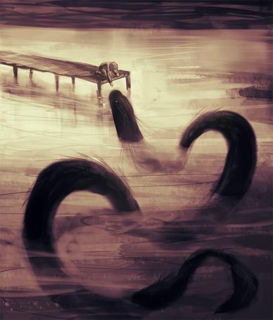 Фото Ребенок протягивает руку к водному змею, art by Neesha