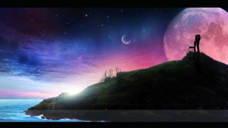 Фото Влюбленная пара на фоне ночного звездного неба, by RazielMB
