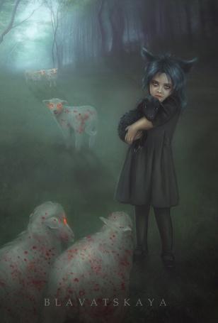 Фото Девочка с волчьими ушками держит на руках ягненка, art by Blavatskaya