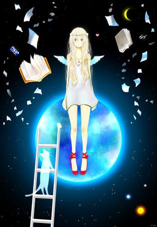 Фото Девушка-ангел парит в ночном небе на фоне луны, к которой приставлена лестница, на которой стоит кошка, art by mari (milkuro-cat)