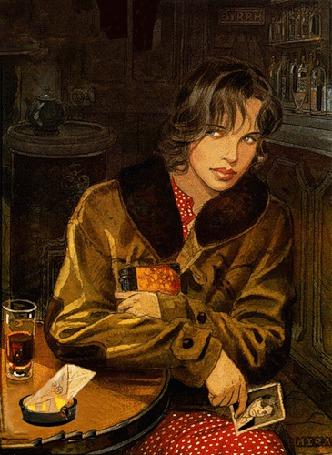 Фото Девушка сидит за столиком в баре держа фотографию мужчины и сжигая письмо в пепельнице