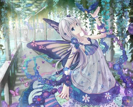 Фото Девушка с крыльями бабочки и птица рядом с ней