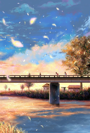 Фото Дети на мосту, art by woiow1