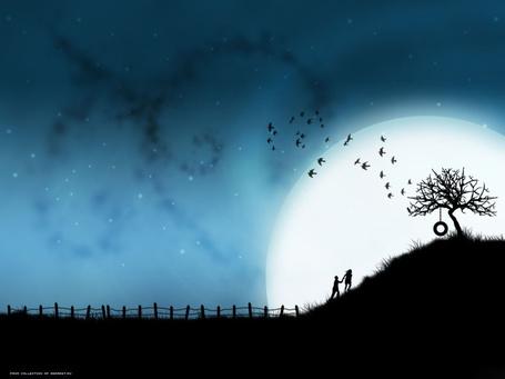 Фото Мужчина и девушка поднимаются на гору, на вершине которой растет дерево, рядом пролетают птицы на фоне луны
