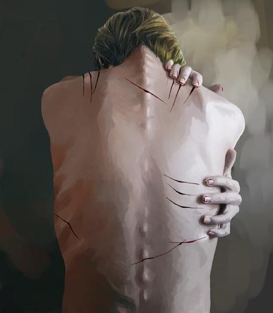 Фото Парень раздирает себе спину, art by ichihara