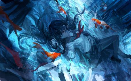 Фото Девушка под водой, art by THE-LM7