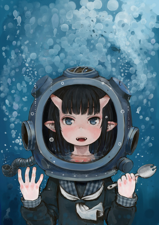 Фото Девушка-демон в акваланге под водой, art by ebi