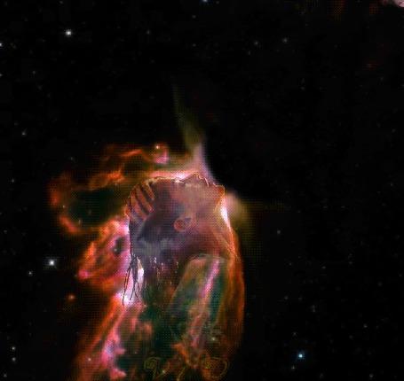 Фото Две Вселенные в виде мужчины и женщины целуются в космосе, в результате поцелуя возникает взрыв Вселенных